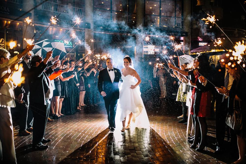 Bride and Groom leaving Sequoia wedding with a sparkler exit in Georgetown